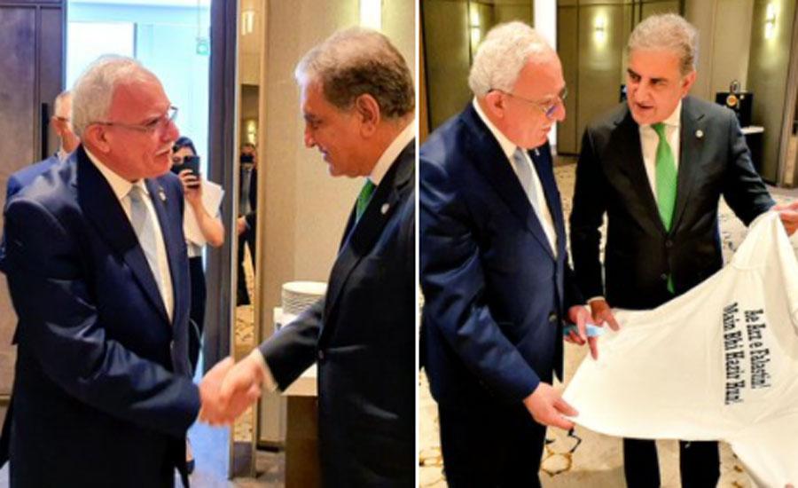 وزیر خارجہ شاہ محمود قریشی کی فلسطینی ہم منصب سے ملاقات، شرٹ کا تحفہ پیش کیا