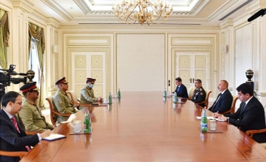 آرمی چیف جنرل قمر جاوید باجوہ کا دورہ آذربائیجان، آذری صدر نے استقبال کیا